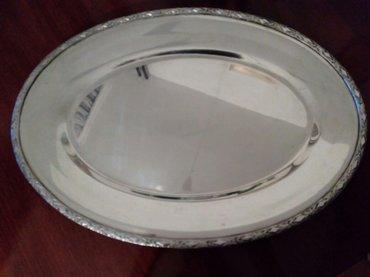Srebrni oval za serviranje hrane dimenzije 46x33 cm,. Nekoristen - Beograd