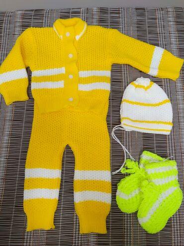 Детский вязаный костюмчик+в подарок Носочки. Возраст от 3-6 месяцев