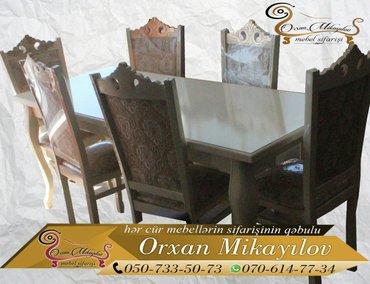 Oğuz şəhərində Mebelni stol-stul desti. Stol-stullarin rengi,olculeri,umumi dizayni