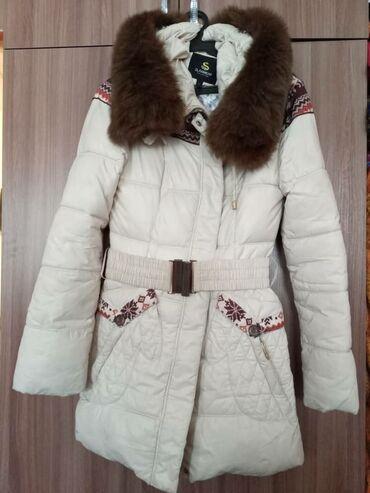 Куртки - Бежевый - Бишкек: Куртка зимняя,очень теплая.В отличном состоянии.Размер.S 42-44