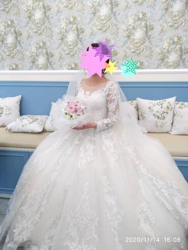 шикарное вечерние платье в Кыргызстан: Шикарное свадебное платье одевала один раз прокат 5000 сомов продажа