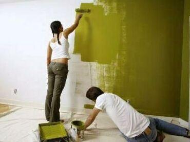 Краска покраска стен эмульсией. Наклейка Обоев. Евгения