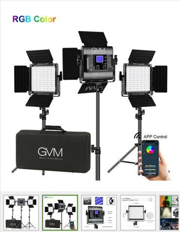 sendivic panel - Azərbaycan: GVM 800D-RGB LED Studio 3 ədəd Video İşıq Dəsti,  Dəst üç ədəd 10.6 x