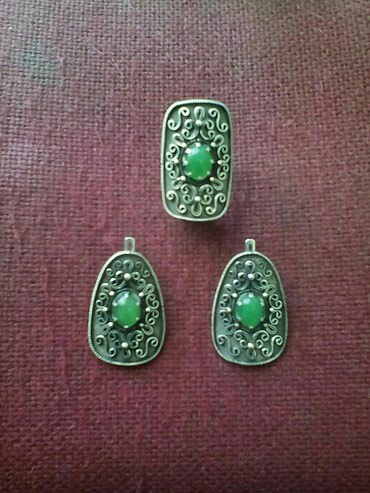 Комплект авторский серебро 925 пробы с хризопразом в Бишкек