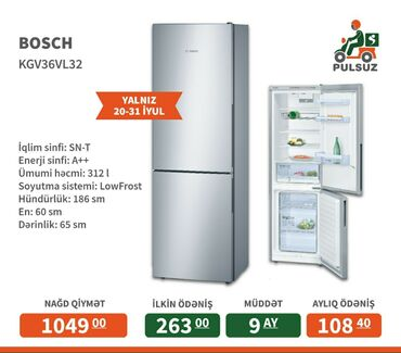 yataqxana - Azərbaycan: Yeni Gümüşü soyuducu Bosch