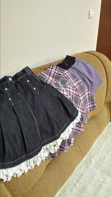 Markirane dečje suknjice, karirana i teksas nove, dužina 45cm, struk - Velika Plana