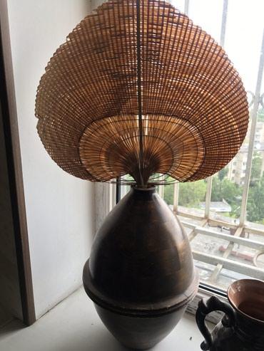 Вазы - Кыргызстан: Деревянная ваза с цветком пальмовым листком из Тайланда! Высота вазы