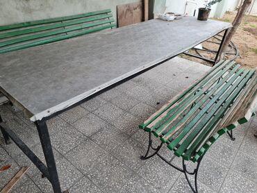 skamyalar - Azərbaycan: Bağ üçün 12 nəfərlik stol 3/0.90 ölçüsü.2 skameyka 1,90. Skameykalarin
