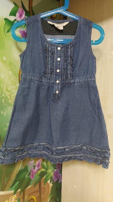 Детские платья в Кыргызстан: Джинсовый сарафанчик, смотрится очень стильно, размер 3-4 года