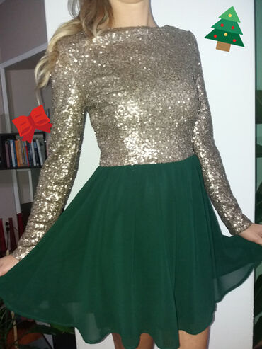 Zlatno, maslinasta haljina, dugih rukava. Prelepa i stvorena za