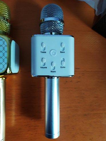 акустические-системы-с-влагозащитой-с-микрофоном в Кыргызстан: Караоке микрофон белый с серебристой ручкой 1000с С дисплеем