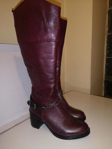 Ženska obuća | Rumenka: EB studio kožne čizme, bordo crvene, nošene nekoliko puta zbog