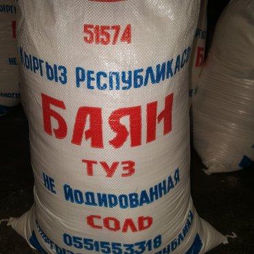 Соль не йодированная  1 кг 7 сом в мешке в Кант