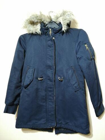 Decija teget jakna, ocuvana, za prolece, jesen, vel. 140, 9-10 godina