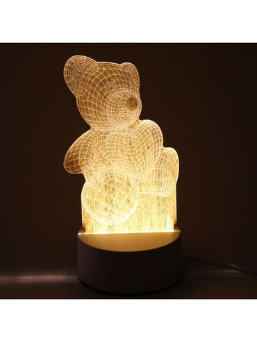 """Светильник """"3D-Мишка"""" 5см 3 режима, свет белый, 220 Вт Ночник может б"""