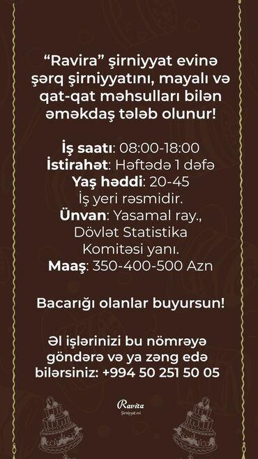 Aşpaz Qənnadıçı. 1 ildən az təcrübə. Yasamal r-nu