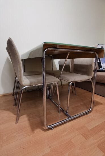 10086 oglasa: Trpezarijski sto staklo/metal 120x70 sa 6 stolica. Ploča staklo 12mm