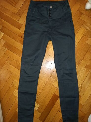 Pantalone - Srbija: Bross pantalone, L (30). Malo elastina. Boja maslinasto zelena