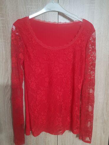 Crvena cipkana bluzica sa elastinom,one size,NOVA