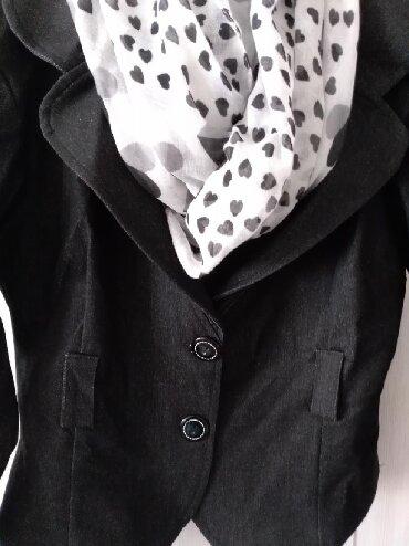 Sako-sa - Srbija: Prelep strukiran tamno sivi/crni sako sa puno elastina M/L