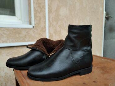 сапоги мужские в Кыргызстан: Новые мужские кожаные сапоги с натуральным мехом. 42 размер. Цена