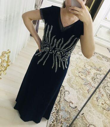 вечернее платье темно синего в Кыргызстан: Вечернее платье русалка украшенное бисером темно синего цвета. Со