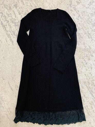 черное длинное платье в Кыргызстан: Итальянское Чёрное Платье, с длинными рукавами, снизу покрыто розами