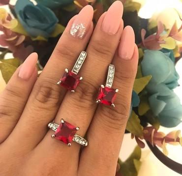серебряный комплект с красными камнями в Кыргызстан: Комплект под серебро,высокого качества,с красными камнями