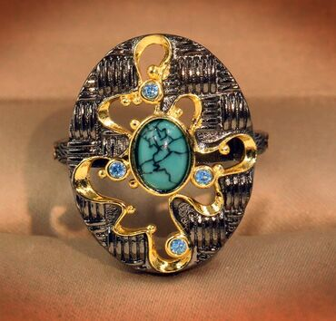 винтажные куклы в Азербайджан: Винтажное кольцо 18 размера из черного золота 925 пробыс бирюзой и