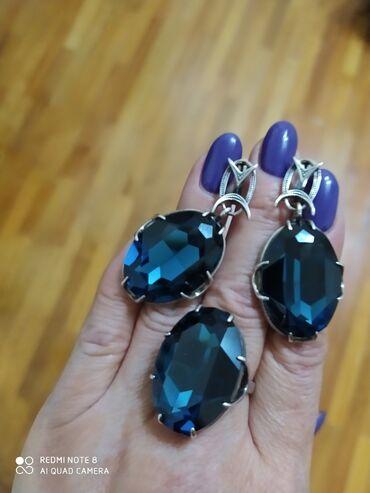 """Шикарный серебр. набор кристаллы Сваровски, камень """" Лондон Топаз"""" кру"""