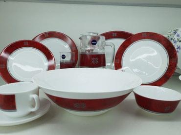 "luminarc francuzskoe steklo в Кыргызстан: Набор посуды ""Luminarc"" 46 предметов Pcs Rubis (белый с рубин. оконтов"
