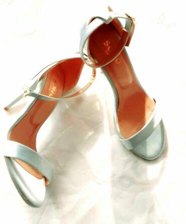 Topuklu,sandalet, soho exclusive, kabluk, yeni,mavi saten kabluk