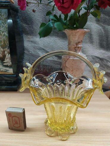 Продаю вазы стеклянные Продаю стеклянные корзинки Желтая ваза