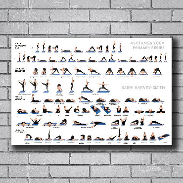 Настенный Комплекс упражнений для занятий по йоге.Размер: 60х100