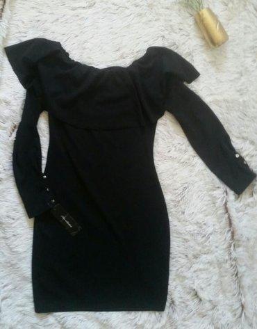 Nova crna haljina sa stilizovanom kragnom, etiketa.Velicina