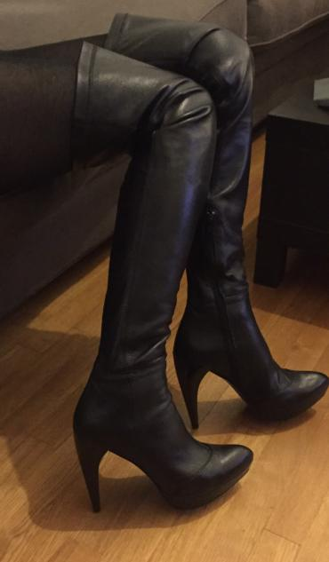 Zara high knee length high heels black leather boots . New , never σε North & East Suburbs