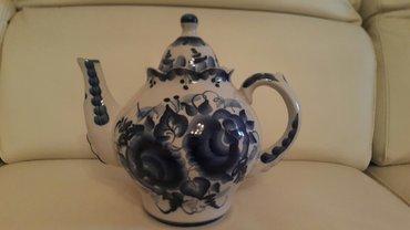 Bakı şəhərində Гжель чайник 2,5 литра речинский фарфоровый завод. высота 23 см.