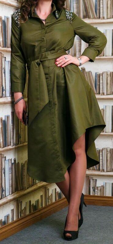 летнее платье трапеция в Кыргызстан: Оригинальное платье-рубашка от Наиля Байкучукова. Размер: 44-46#платье