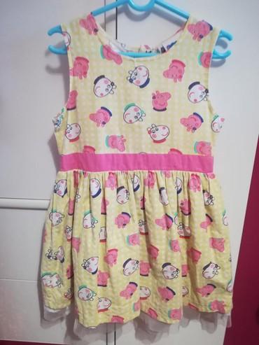 Haljina-postavljena - Srbija: Peppa pig haljinica platnena pamuk za uzrast 4 godine, postavljena