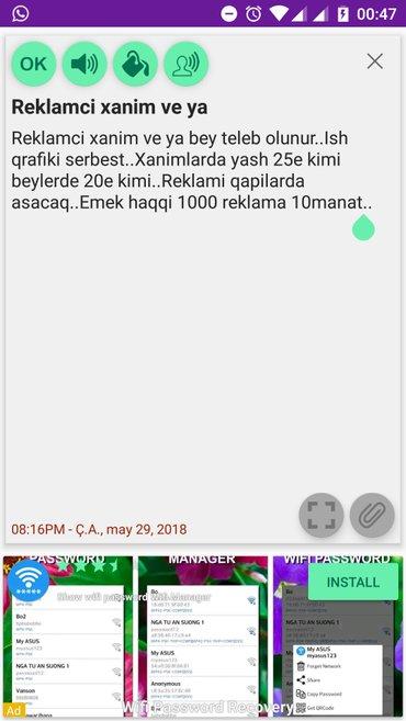 Bakı şəhərində Reklamci xanim ve ya bey teleb olunur..Ish qrafiki serbest..Xanimlarda