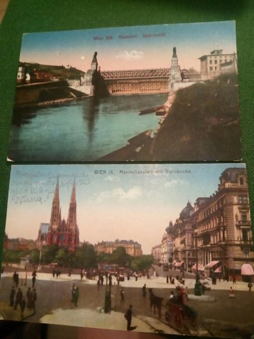 Bec,dve razglednice,1921g,rucno bojene - Beograd