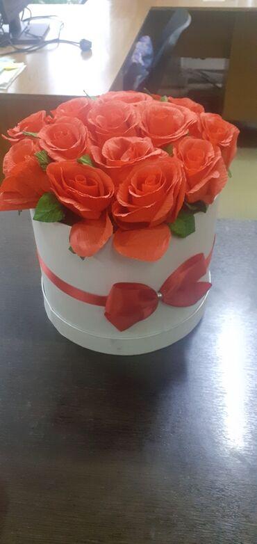 Продам искусственные цветы из бумаги 15 штук в коробочке состояние хор