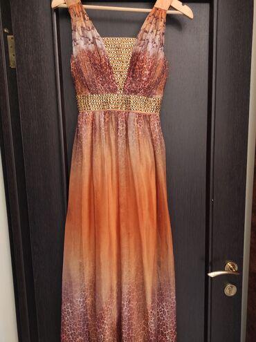 Длинное платье очень красиво сидит размер M