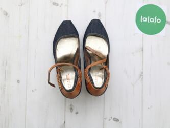 Закрытые женские джинсовые босоножки на каблуке CHANEL,р.39 Длина подо