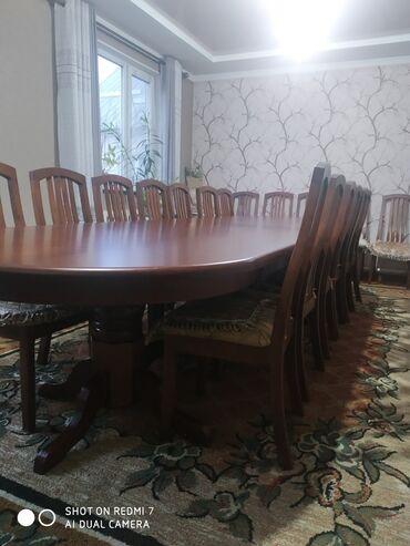 продам маламута в Кыргызстан: Продам стол 4,5 м и стулья 18 шт из карагача, состояние идеальное