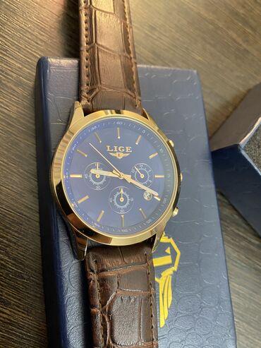 Часы lige мужские кварцевые с кожаным ремешком, брендовые роскошные