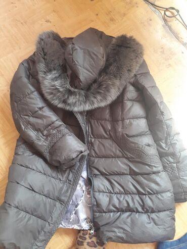Куртка зимняя очень теплая, капюшон песец натуральный, размер 50-52-54
