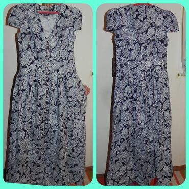 летнее платье свободного кроя в Кыргызстан: Платье летного варианта, длинное с цветочками сине-белое, размер