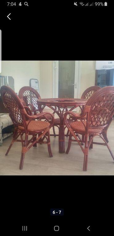 Комплекты столов и стульев в Душанбе: Обеденный комплект из натурального ротанга, поможет очень удобно прове