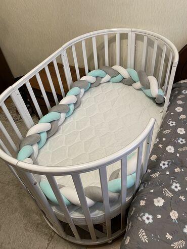 Детская мебель - Цвет: Белый - Бишкек: Детская кроватка 8в1  -Пользовались ровно 1месяц -Состояние идеальное
